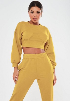 Missguided Tall Mustard Corset Sweatshirt
