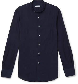 Boglioli Slim-Fit Grandad-Collar Linen And Cotton-Blend Chambray Shirt