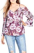 City Chic Arthouse Floral Tie Waist Cold Shoulder Top