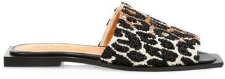Ganni Embellished Leopard-Print Mules