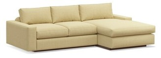 """TrueModern Jackson 104"""" Sofa with Chaise Body Fabric: Marlow Parrot, Leg Color: Honey, Orientation: Right Hand Facing"""