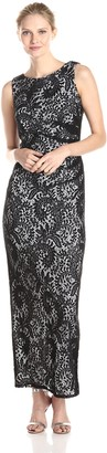 Marina Women's Sleeveless Paisley Printed Lace Dress with Contrast Lining and Cowl Neck