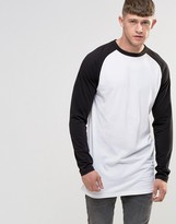 Bellfield Longline Raglan Long Sleeve Baseball T-Shirt