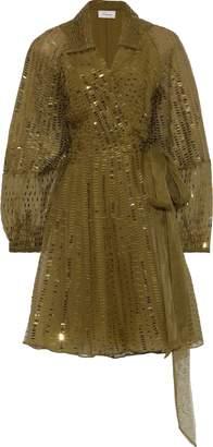 Temperley London Jet Sequin-embellished Silk-organza Wrap Dress