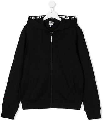 Karl Lagerfeld Paris TEEN logo zipped hoodie