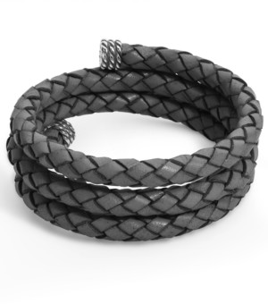 American West Gray Braided Leather Wrap Bracelet in Sterling Silver