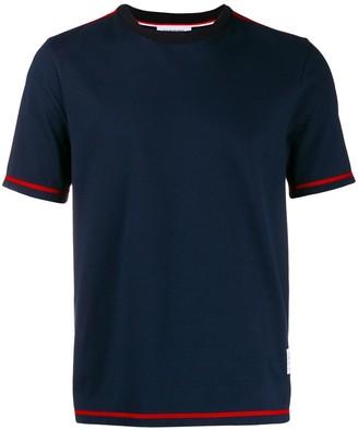 Thom Browne Navy Side Slit Short Sleeve Tee
