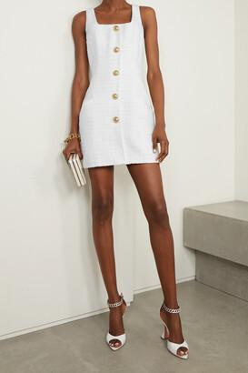 BALMAIN - Button-embellished Metallic Tweed Mini Dress - White