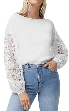French Connection Josephine Lace Sleeve Sweater