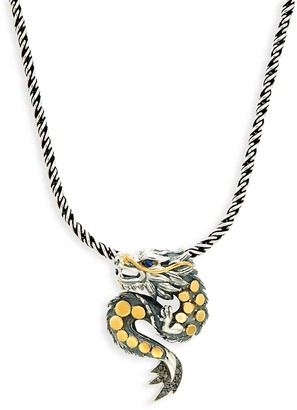 Effy Sterling Silver and 18K Yellow Gold, Diamond and Sapphire Dragon Pendant Necklace