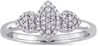 Miadora 14k White Gold 1/5ct TDW Diamond Leaf and Heart Shaped Cluster Engagement Ring