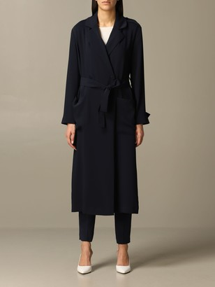 Emporio Armani Coat Long Trench Coat With Belt