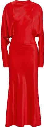 Victoria Beckham Open-back Satin-twill Maxi Dress