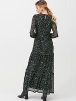 Very Smocked Tier Maxi Dress - Green Floral