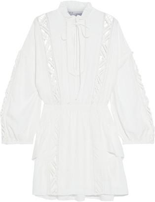 IRO Acevedo Ruffled Lattice-trimmed Modal-blend Mini Dress