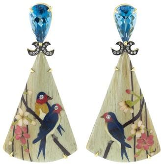 Silvia Furmanovich Marquetry Bird Triangle Earrings