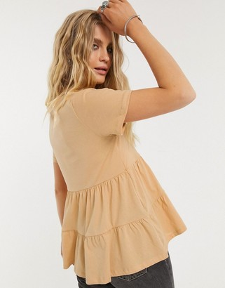 Only tiered t-shirt in tan
