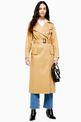 Topshop Womens Belted Camel Trench Coat - Camel