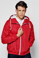 boohoo Red Shower Resistant Zip Through Hooded Cagoule