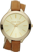 Michael Kors Women's Slim Runway Luggage Leather Double Wrap Strap Watch 42mm MK2256