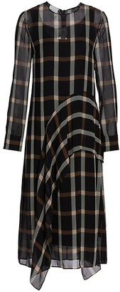 Akris Punto Plaid Ruffle Midi Dress