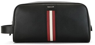 Bally Single-Stripe Leather Wash Bag