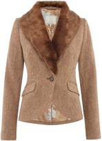 Joules Wilomena Tweed Jacket with Faux Fur Collar