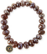Sydney Evan Jewelry 8mm Faceted Brown Silverite Beaded Bracelet with 14k Diamond Evil Eye Disc Charm