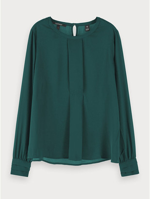 Maison Scotch Pleat Detail Top Forest Green - Size L