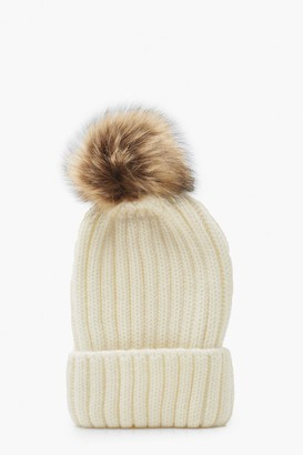boohoo Rib Knit Beanie With Large Faux Fur Pom
