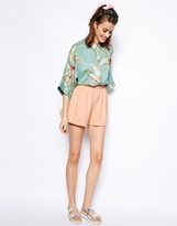 Asos Culotte Shorts In Texture - Washed coral