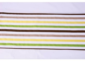 Bacati Mod Stripes Tailored with 100% Cotton Percale 13 inch drop Tailored with 100% Cotton Percale 13 inch drop Crib Skirt, Green/Yellow/Chocolate