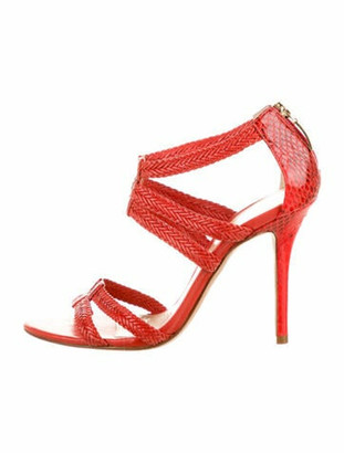 Alexandre Birman Snakeskin Sandals Red