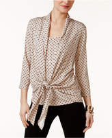NY Collection Printed Tie-Front Blouse