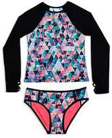 Gossip Girl Girls' Kaleidoscope Rash Guard & Swimsuit Bottoms Set - Big Kid