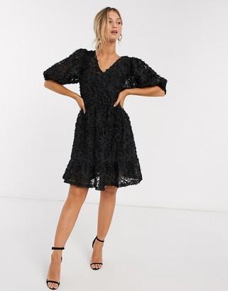 Vero Moda textured mini dress with puff sleeves in black