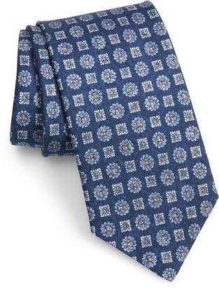 David Donahue Floral Medallion Silk Tie