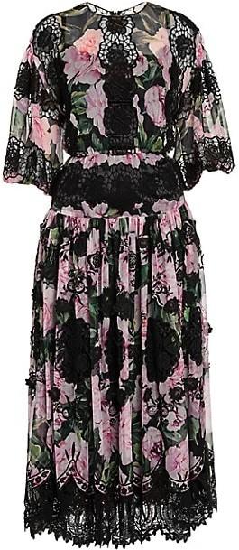 Dolce & Gabbana Chiffon Floral-Print Lace Panel Midi Dress
