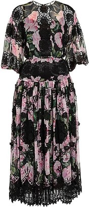Dolce & Gabbana Chiffon Floral-Print Lace Panel Midi Dress