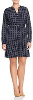 MICHAEL Michael Kors Grid Print Belted Shirt Dress