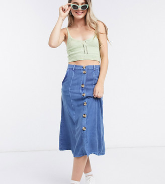 Wednesday's Girl midi skirt with faux horn buttons in denim