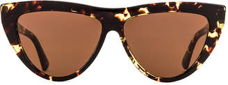Bottega Veneta New Entry 018 Sunglasses in Havana & Brown   FWRD