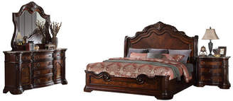 Best Master Furniture Barney's Traditional Walnut With Marble 5-Piece Eastern King Set