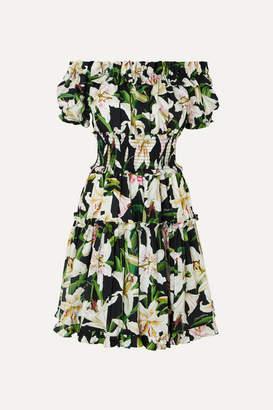 Dolce & Gabbana Off-the-shoulder Ruffled Floral-print Cotton-poplin Dress - Black