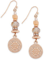 INC International Concepts Rose Gold-Tone Multi-Bead Disc Drop Earrings, Only at Macy's