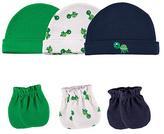 Luvable Friends Green & White Turtle 6-Piece Cap & Scratch Mittens Set