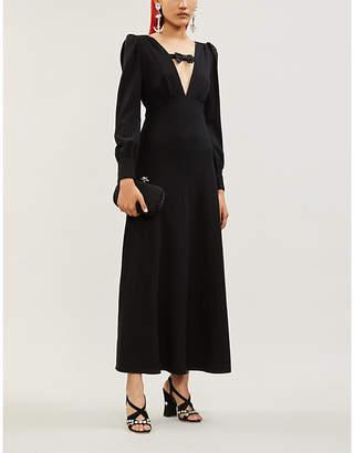 Alessandra Rich Plunge V-neck stretch-wool shift maxi dress