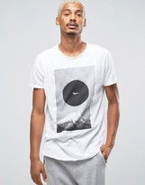 Pull&bear Longline T-shirt In White With Japan Print