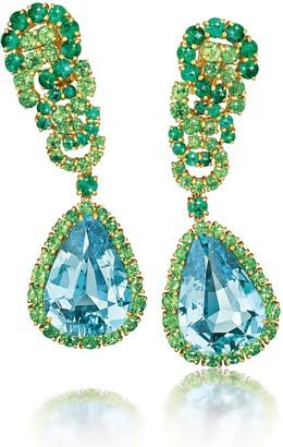 Verdura Cascade Aquamarine Emerald and Tsavorite Earrings