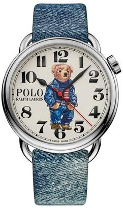 Ralph Lauren 42 MM Denim Flag Bear Watch